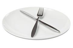 刀叉餐具空的牌照 免版税库存图片