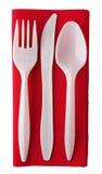 刀叉餐具纸塑料红色餐巾 库存照片
