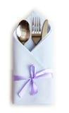 刀叉餐具餐巾 库存图片