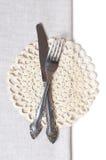 刀叉餐具餐巾 库存照片