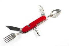 刀子、叉子、匙子和拔塞螺旋集合 库存图片
