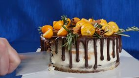 刀子切开蛋糕用草莓,并且蓝莓关闭  切开与刀子的一个草莓蛋糕 果子草莓 免版税库存图片