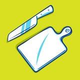 刀子和切板-蓝色系列 免版税库存图片