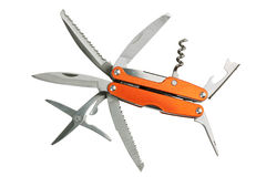 刀子橙色剪刀设置了工具 免版税库存图片