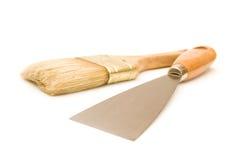 刀子油漆刷油灰 免版税库存图片