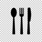 刀子,叉子,匙子 刀叉餐具 制表设置 适应图标 向量例证