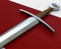 刀柄红色剑天鹅绒 库存图片