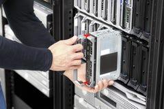 刀片大datacenter的服务器设施 库存照片
