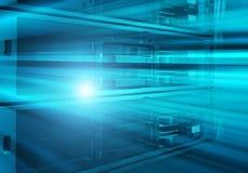 刀片服务器是在一系列的巨型计算机的特写镜头 免版税库存图片
