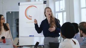 分享技能的愉快的年轻吸引人教练女商人与不同种族的同事在现代办公室研讨会 影视素材