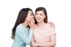 分享秘密的两个美丽的微笑的女孩 免版税库存图片