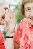 分享秘密的两名资深妇女 免版税库存图片