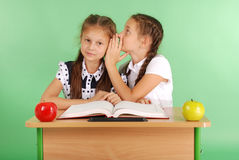 分享秘密的两所学校女孩坐在从书的一张书桌 库存照片