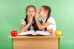 分享秘密的两所学校女孩坐在从书的一张书桌 免版税图库摄影