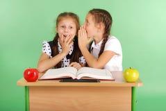 分享秘密的两所学校女孩坐在从书的一张书桌 库存图片