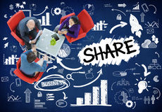 分享连接网上通信网络概念的份额 免版税库存照片