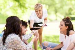 分享饼的愉快的朋友在野餐在夏天公园 免版税库存照片