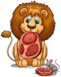 分享他的食物的狮子 免版税库存照片