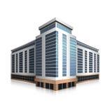 分别地站立的办公楼,商业中心 免版税库存照片
