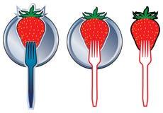 分叉草莓 免版税库存图片