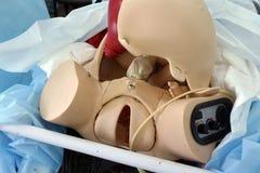 分娩的模仿时装模特在产科医生的训练期间 免版税库存照片