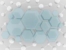 分子和六角形玻璃科学背景 免版税库存照片
