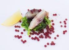 分子甜菜鱼子酱、鲭鱼鱼和海草 免版税库存图片
