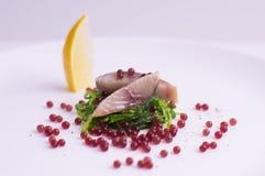分子甜菜鱼子酱、鲭鱼鱼和海草 免版税库存照片