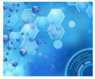 分子结构和脱氧核糖核酸背景 有lcd屏幕的概念design.futuristic注射器 库存图片