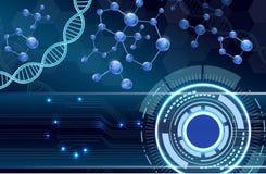 分子结构和脱氧核糖核酸背景 有lcd屏幕的概念design.futuristic注射器 免版税库存图片