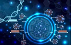 分子结构和脱氧核糖核酸背景 有lcd屏幕的概念design.futuristic注射器 免版税图库摄影