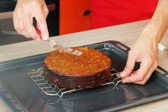 分层堆积用橘子果酱的蛋糕 库存照片