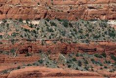 分层堆积红色岩石 免版税图库摄影