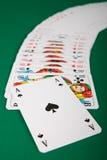 分布的卡片组使用 免版税库存照片