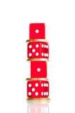 分布,欧元硬币并且把被堆积的红色切成小方块 免版税库存图片