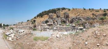分开在Ephesus,伊兹密尔,土耳其,全景的现场 库存图片
