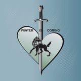 分开的心脏、剑和狼 向量例证
