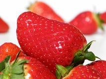 分开的红色草莓 库存照片