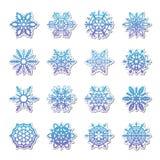 分开的雪花乱画在平的样式的传染媒介土气圣诞节clipart新年雪水晶例证 库存图片