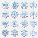 分开的雪花乱画在平的样式的象传染媒介土气圣诞节clipart新年雪水晶例证 库存图片