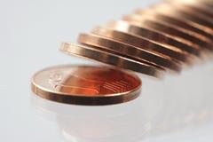 分接近的硬币欧元 免版税图库摄影