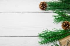 分支圣诞树和锥体在白色木葡萄酒背景 库存照片