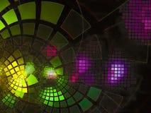 分数维抽象数字式流程发光的装饰摘要技术使数字式,迪斯科,事务,广告, 免版税库存图片