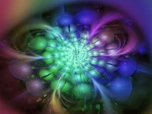 分数维抽象样式,美丽的幻想和谐图表柳条制品创造性的卷毛花五颜六色的精美广告 免版税库存照片
