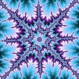 分数维星或雪花在蓝色和紫罗兰色 库存例证