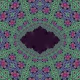分数维艺术开花绿色、桃红色和蓝色与黑拷贝空间在中心 库存图片
