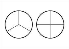 分数饼被划分成切片 网站介绍盖子海报平的概述象的Fractions库存例证