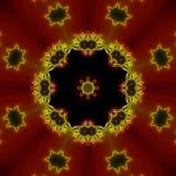 分数维红色黑和黄色万花筒 免版税图库摄影
