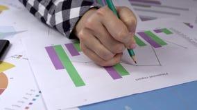 分析五颜六色的财政报告 股票录像