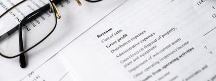 分析企业构成欧洲财务玻璃收入墨水货币笔语句 财务分析-收入报告 钞票 库存图片